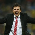 Football - Bosnia & Herzegovina v Wales - UEFA Euro 2016 Qualifying Group B - Stadion Bilino Polje, Zenica, Bosnia & Herzegovina - 10/10/15 Wales manager Chris Coleman celebrates after qualifying for UEFA Euro 2016 Action Images via Reuters / Matthew Childs Livepic EDITORIAL USE ONLY.